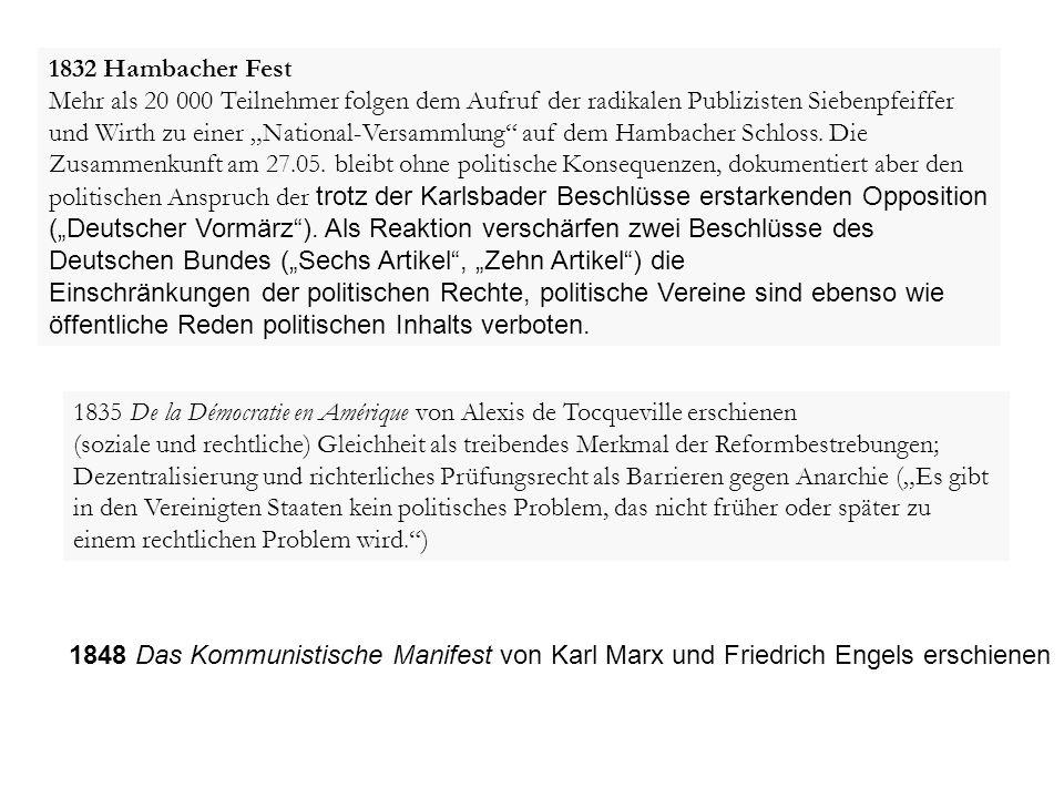 """1832 Hambacher Fest Mehr als 20 000 Teilnehmer folgen dem Aufruf der radikalen Publizisten Siebenpfeiffer und Wirth zu einer """"National-Versammlung"""" au"""