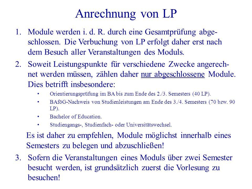 Anrechnung von LP 1. Module werden i. d. R. durch eine Gesamtprüfung abge- schlossen. Die Verbuchung von LP erfolgt daher erst nach dem Besuch aller V