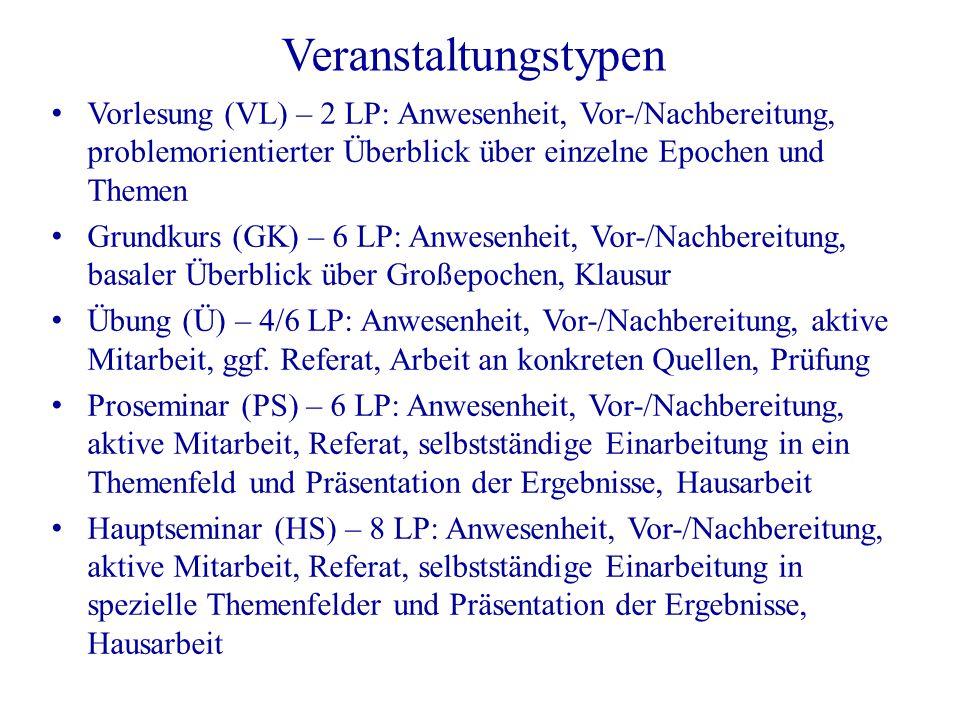 Veranstaltungstypen Vorlesung (VL) – 2 LP: Anwesenheit, Vor-/Nachbereitung, problemorientierter Überblick über einzelne Epochen und Themen Grundkurs (
