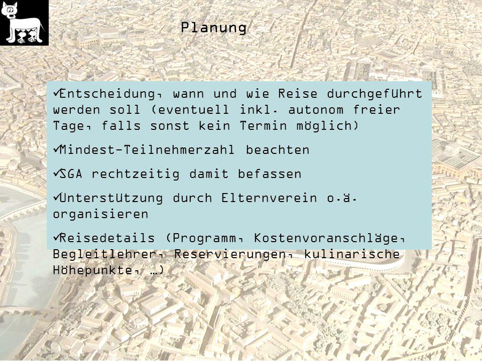 Planung Entscheidung, wann und wie Reise durchgeführt werden soll (eventuell inkl.