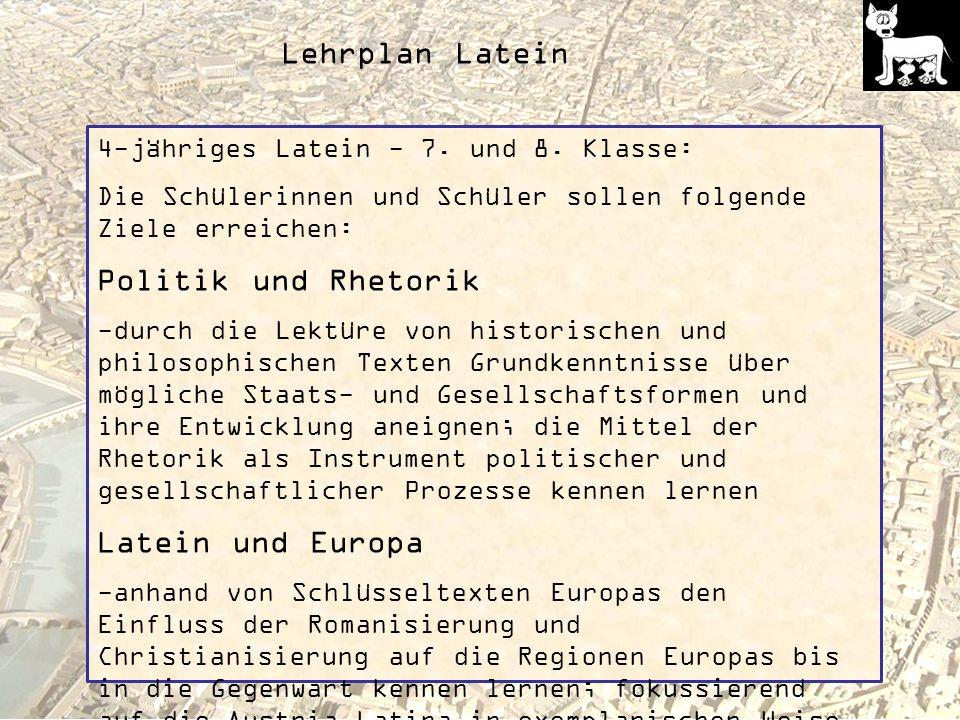 Lehrplan Latein 4-jähriges Latein - 7.und 8.