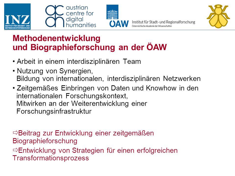 Methodenentwicklung und Biographieforschung an der ÖAW Arbeit in einem interdisziplinären Team Nutzung von Synergien, Bildung von internationalen, int