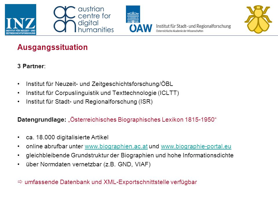 Ausgangssituation 3 Partner: Institut für Neuzeit- und Zeitgeschichtsforschung/ÖBL Institut für Corpuslinguistik und Texttechnologie (ICLTT) Institut