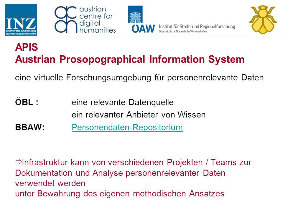 APIS Austrian Prosopographical Information System eine virtuelle Forschungsumgebung für personenrelevante Daten ÖBL : eine relevante Datenquelle ein r