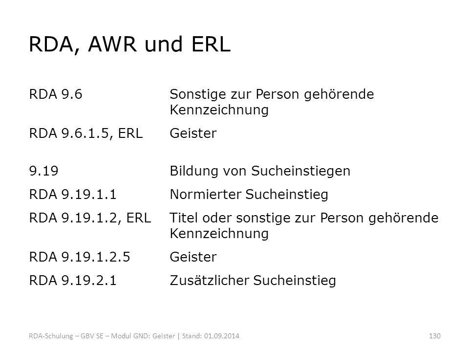 RDA, AWR und ERL RDA 9.6Sonstige zur Person gehörende Kennzeichnung RDA 9.6.1.5, ERLGeister 9.19Bildung von Sucheinstiegen RDA 9.19.1.1Normierter Such