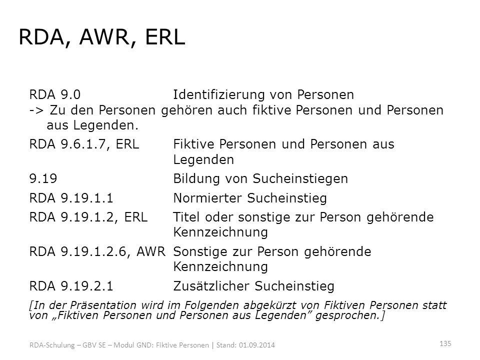 RDA, AWR, ERL RDA 9.0Identifizierung von Personen -> Zu den Personen gehören auch fiktive Personen und Personen aus Legenden. RDA 9.6.1.7, ERLFiktive
