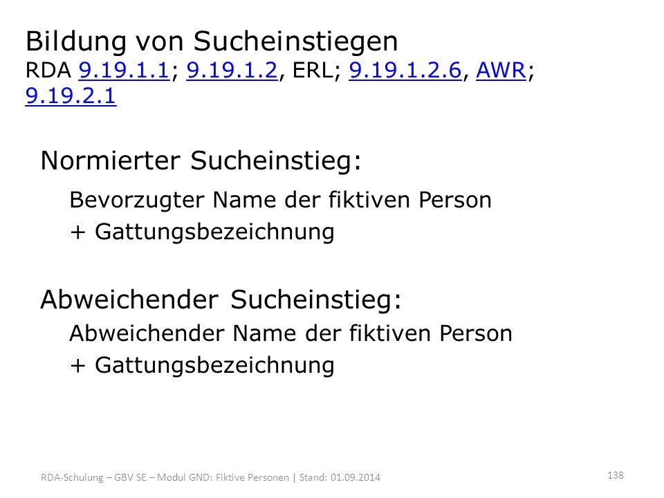 Bildung von Sucheinstiegen RDA 9.19.1.1; 9.19.1.2, ERL; 9.19.1.2.6, AWR; 9.19.2.19.19.1.19.19.1.29.19.1.2.6AWR 9.19.2.1 Normierter Sucheinstieg: Bevor
