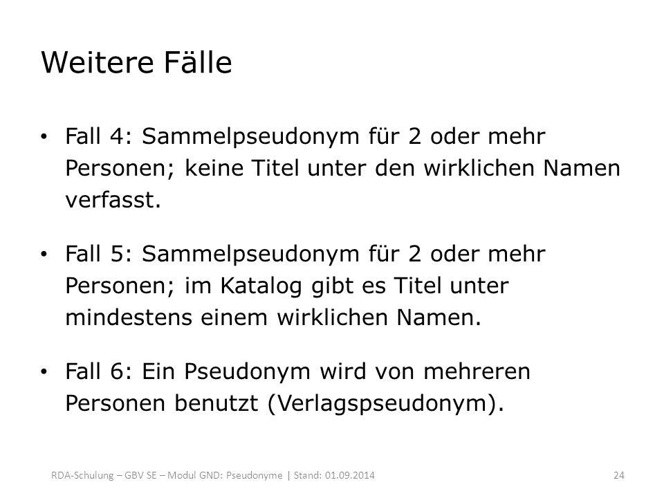 Weitere Fälle Fall 4: Sammelpseudonym für 2 oder mehr Personen; keine Titel unter den wirklichen Namen verfasst. Fall 5: Sammelpseudonym für 2 oder me