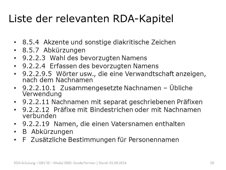 Liste der relevanten RDA-Kapitel 8.5.4 Akzente und sonstige diakritische Zeichen 8.5.7 Abkürzungen 9.2.2.3 Wahl des bevorzugten Namens 9.2.2.4 Erfasse