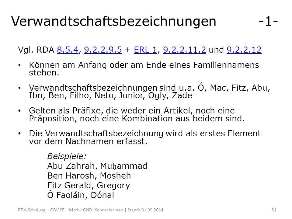 Verwandtschaftsbezeichnungen -1- Vgl. RDA 8.5.4, 9.2.2.9.5 + ERL 1, 9.2.2.11.2 und 9.2.2.128.5.49.2.2.9.5ERL 19.2.2.11.29.2.2.12 Können am Anfang oder