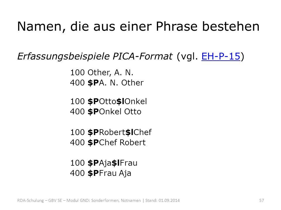 Namen, die aus einer Phrase bestehen Erfassungsbeispiele PICA-Format (vgl. EH-P-15)EH-P-15 100 Other, A. N. 400 $PA. N. Other 100 $POtto$lOnkel 400 $P