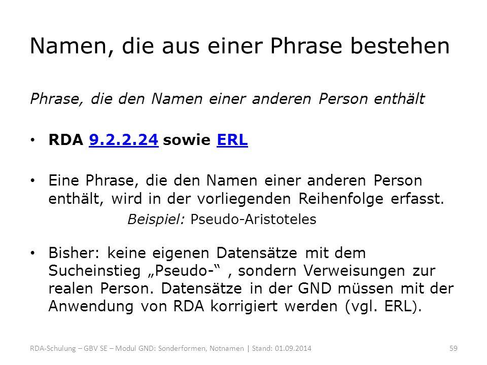 Namen, die aus einer Phrase bestehen Phrase, die den Namen einer anderen Person enthält RDA 9.2.2.24 sowie ERL9.2.2.24ERL Eine Phrase, die den Namen e