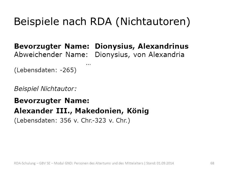 Beispiele nach RDA (Nichtautoren) Bevorzugter Name:Dionysius, Alexandrinus Abweichender Name:Dionysius, von Alexandria … (Lebensdaten: -265) Beispiel