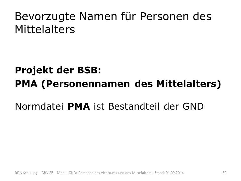 Bevorzugte Namen für Personen des Mittelalters Projekt der BSB: PMA (Personennamen des Mittelalters) Normdatei PMA ist Bestandteil der GND RDA-Schulun