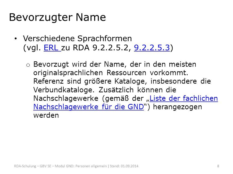 Liste der relevanten RDA-Kapitel 8.5.4 Akzente und sonstige diakritische Zeichen 8.5.7 Abkürzungen 9.2.2.3 Wahl des bevorzugten Namens 9.2.2.4 Erfassen des bevorzugten Namens 9.2.2.9.5 Wörter usw., die eine Verwandtschaft anzeigen, nach dem Nachnamen 9.2.2.10.1 Zusammengesetzte Nachnamen – Übliche Verwendung 9.2.2.11 Nachnamen mit separat geschriebenen Präfixen 9.2.2.12 Präfixe mit Bindestrichen oder mit Nachnamen verbunden 9.2.2.19 Namen, die einen Vatersnamen enthalten B Abkürzungen F Zusätzliche Bestimmungen für Personennamen RDA-Schulung – GBV SE – Modul GND: Sonderformen | Stand: 01.09.201429