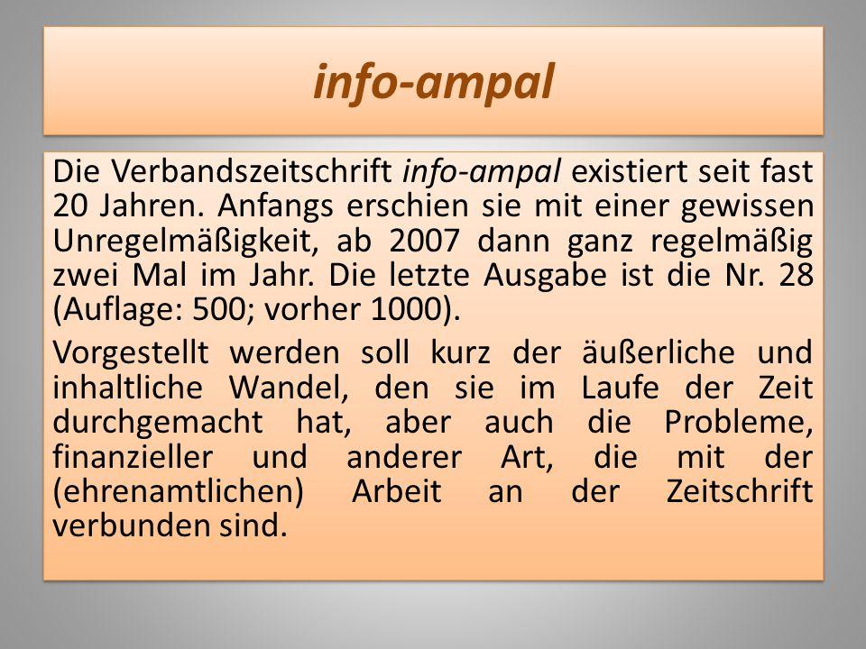 info-ampal Die Verbandszeitschrift info-ampal existiert seit fast 20 Jahren. Anfangs erschien sie mit einer gewissen Unregelmäßigkeit, ab 2007 dann ga