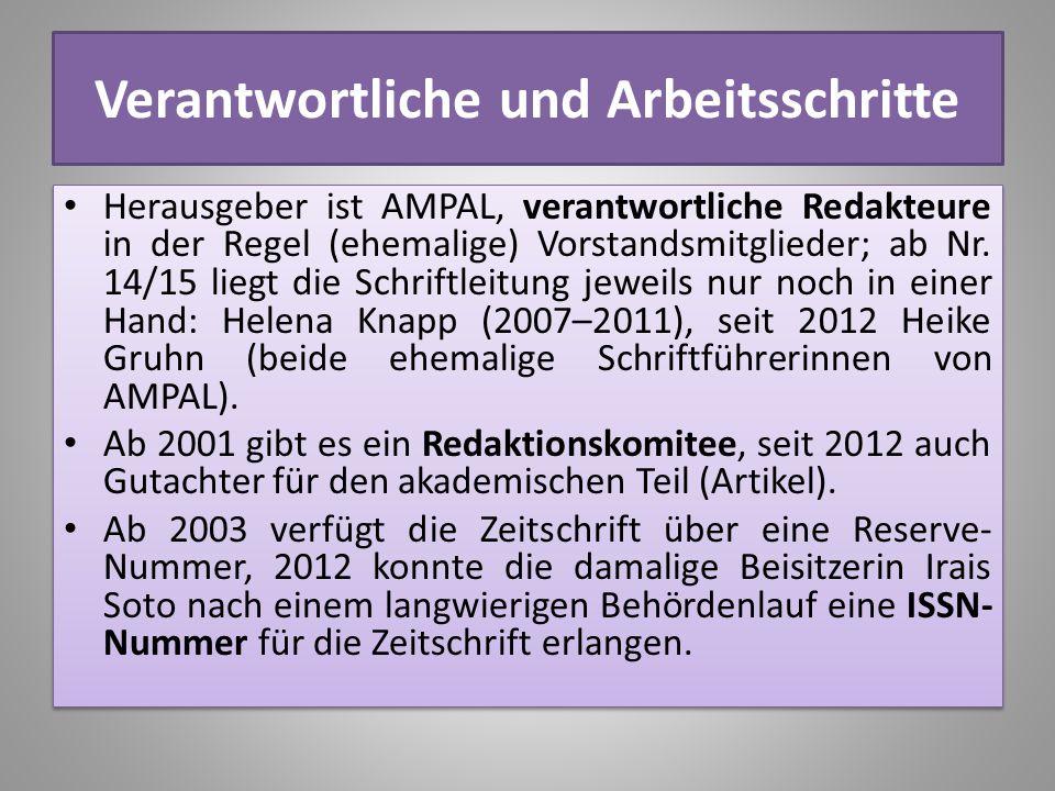 Verantwortliche und Arbeitsschritte Herausgeber ist AMPAL, verantwortliche Redakteure in der Regel (ehemalige) Vorstandsmitglieder; ab Nr. 14/15 liegt