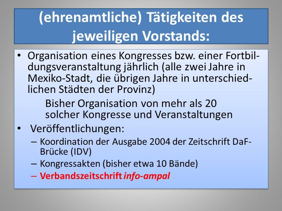 (ehrenamtliche) Tätigkeiten des jeweiligen Vorstands: Organisation eines Kongresses bzw. einer Fortbil- dungsveranstaltung jährlich (alle zwei Jahre i