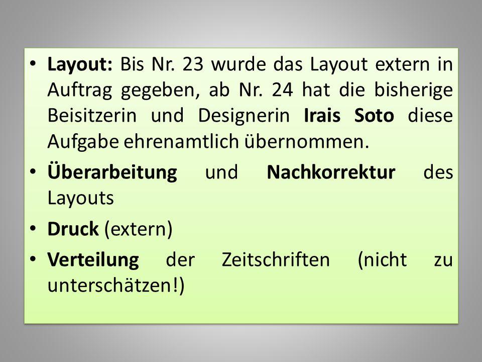 Layout: Bis Nr. 23 wurde das Layout extern in Auftrag gegeben, ab Nr. 24 hat die bisherige Beisitzerin und Designerin Irais Soto diese Aufgabe ehrenam
