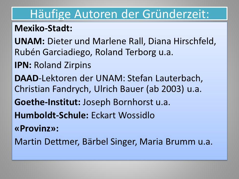 Häufige Autoren der Gründerzeit: Mexiko-Stadt: UNAM: Dieter und Marlene Rall, Diana Hirschfeld, Rubén Garciadiego, Roland Terborg u.a. IPN: Roland Zir
