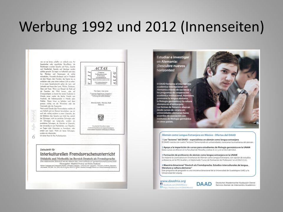 Werbung 1992 und 2012 (Innenseiten)