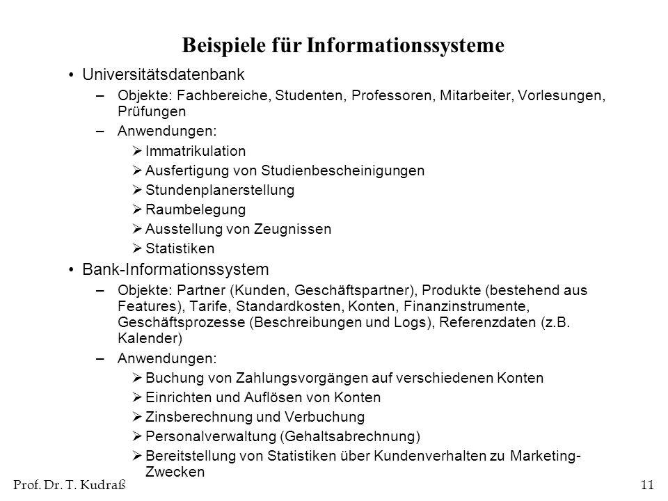 Prof. Dr. T. Kudraß11 Beispiele für Informationssysteme Universitätsdatenbank –Objekte: Fachbereiche, Studenten, Professoren, Mitarbeiter, Vorlesungen