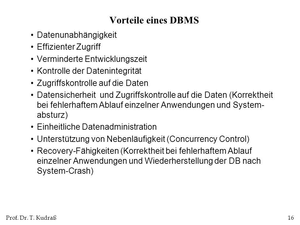 Prof. Dr. T. Kudraß16 Vorteile eines DBMS Datenunabhängigkeit Effizienter Zugriff Verminderte Entwicklungszeit Kontrolle der Datenintegrität Zugriffsk