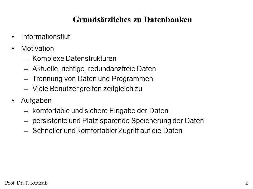 Prof. Dr. T. Kudraß2 Informationsflut Motivation –Komplexe Datenstrukturen –Aktuelle, richtige, redundanzfreie Daten –Trennung von Daten und Programme