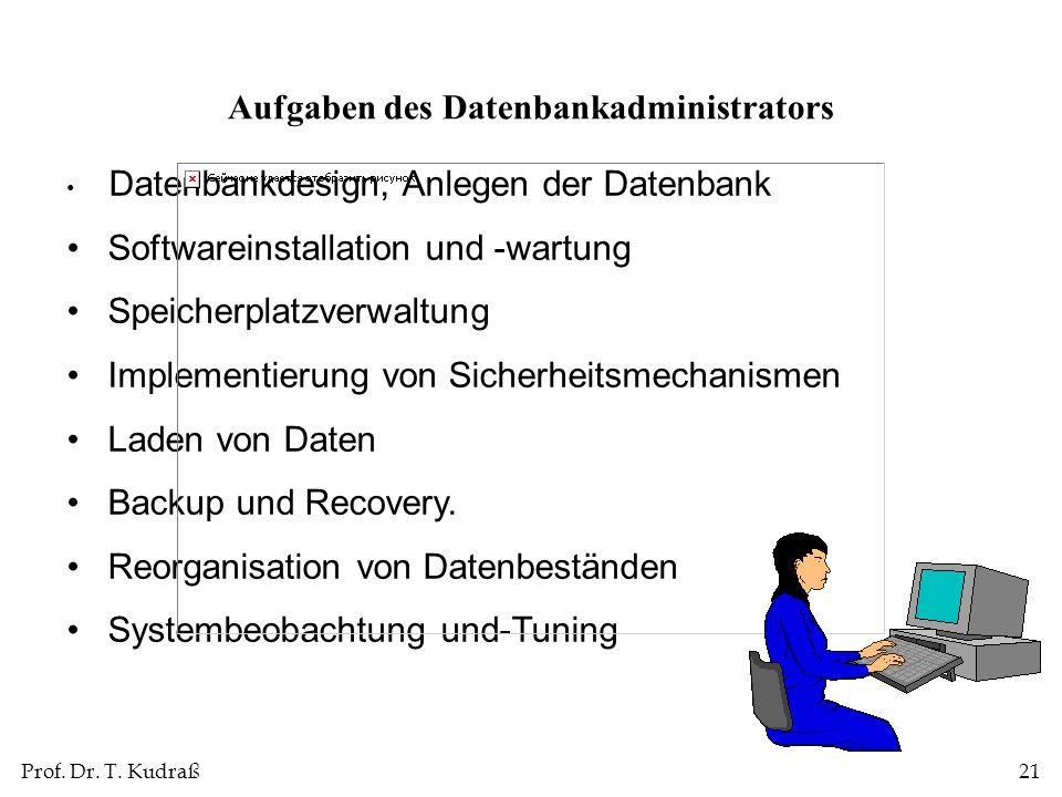 Prof. Dr. T. Kudraß21 Datenbankdesign, Anlegen der Datenbank Softwareinstallation und -wartung Speicherplatzverwaltung Implementierung von Sicherheits