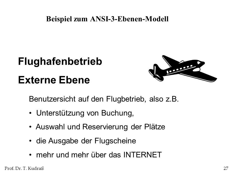 Prof. Dr. T. Kudraß27 Flughafenbetrieb Externe Ebene Benutzersicht auf den Flugbetrieb, also z.B. Unterstützung von Buchung, Auswahl und Reservierung