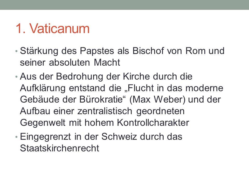 """1. Vaticanum Stärkung des Papstes als Bischof von Rom und seiner absoluten Macht Aus der Bedrohung der Kirche durch die Aufklärung entstand die """"Fluch"""