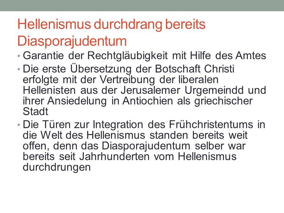 NT liegt Septuaginta zugrunde Es gab in allen grossen Zentren des Reiches Juden, die sich entweder abschotteten (Typ Measchearim/Ahornsynagoge heute) oder die sich mit der herrschenden Kultur und Sprache arrangierten (Typ liberales Judentum von New York bis Basel) Viele Juden sprachen nur noch die Weltsprache Griechisch, woraus sich die Notwendigkeit ergab, den Tenach zu übersetzten (Septuaginta) und so damit auch mit griechischem Geist zu durchdringen Dem Neue Testament liegt geistig-sprachlich die Septuaginata und nicht der hebräische Tenach zugrunde