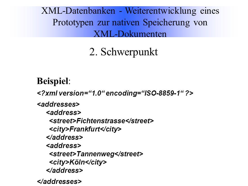 Beispiel: Fichtenstrasse Frankfurt Tannenweg Köln XML-Datenbanken - Weiterentwicklung eines Prototypen zur nativen Speicherung von XML-Dokumenten 2.