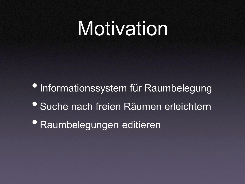 Motivation Informationssystem für Raumbelegung Suche nach freien Räumen erleichtern Raumbelegungen editieren