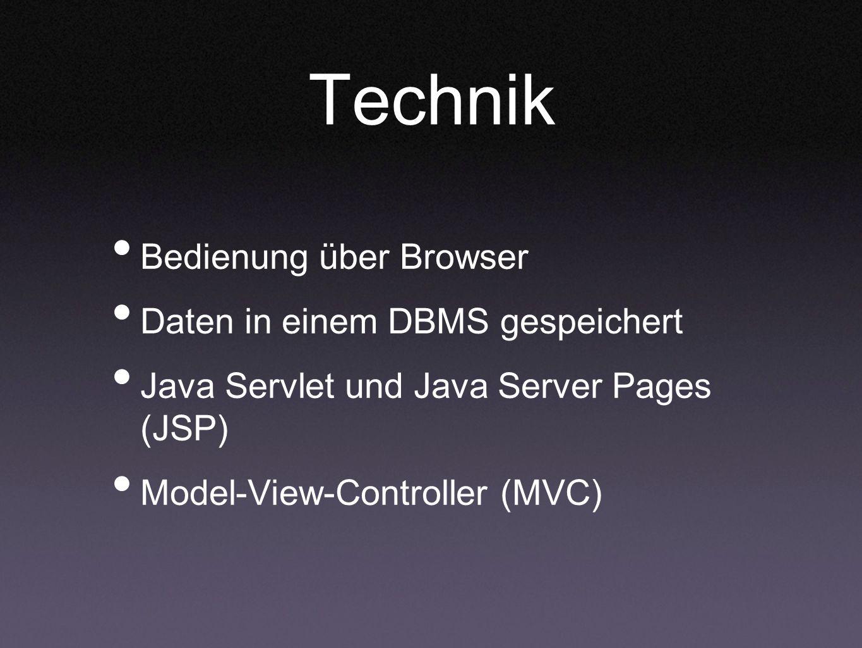 Technik Bedienung über Browser Daten in einem DBMS gespeichert Java Servlet und Java Server Pages (JSP) Model-View-Controller (MVC)