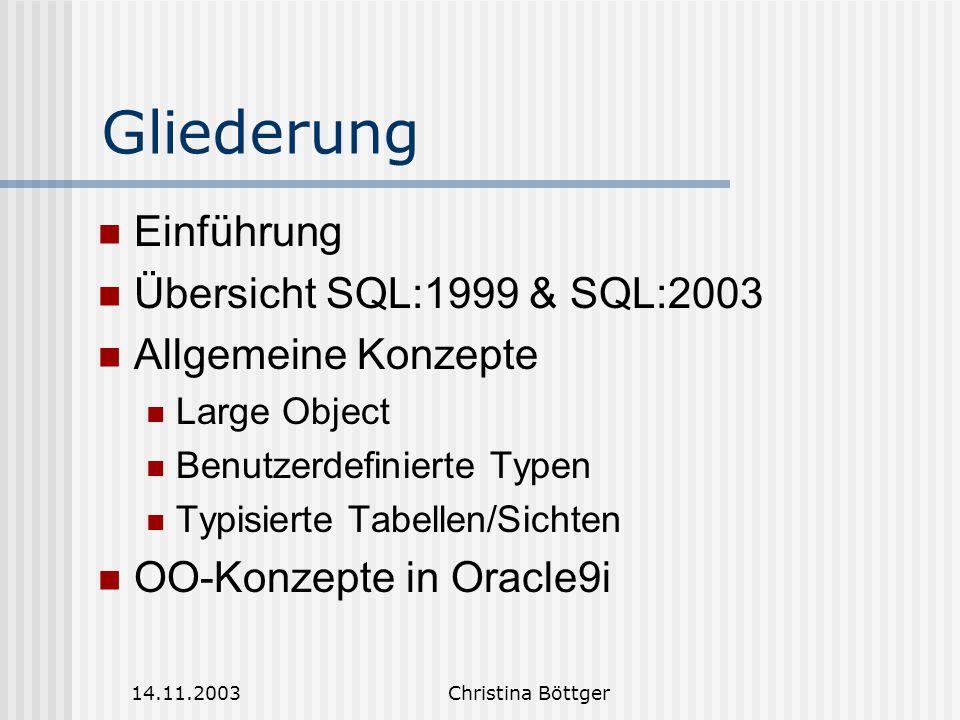 14.11.2003Christina Böttger Distinct – Typen(1) Kopie eines existierten Basistypen mit neuem Namen Wiederverwendung Strenge Typisierung (basiert auf Namensäquivalenz) Nicht-optionales Schlüsselwort FINAL schliesst Subtypbildung aus Systemdefinierte Vergleichsoperatoren basierend auf dem Quelltyp Cast-Operatoren zur Konversion zwischen Distinct- und Quelltyp
