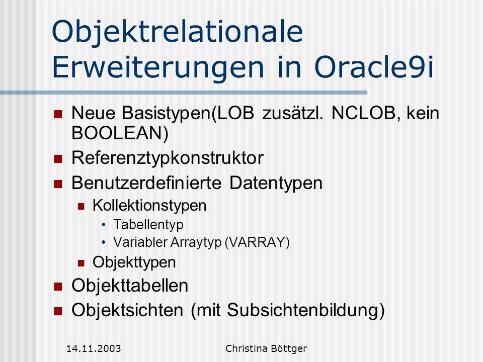 14.11.2003Christina Böttger Objektrelationale Erweiterungen in Oracle9i Neue Basistypen(LOB zusätzl.