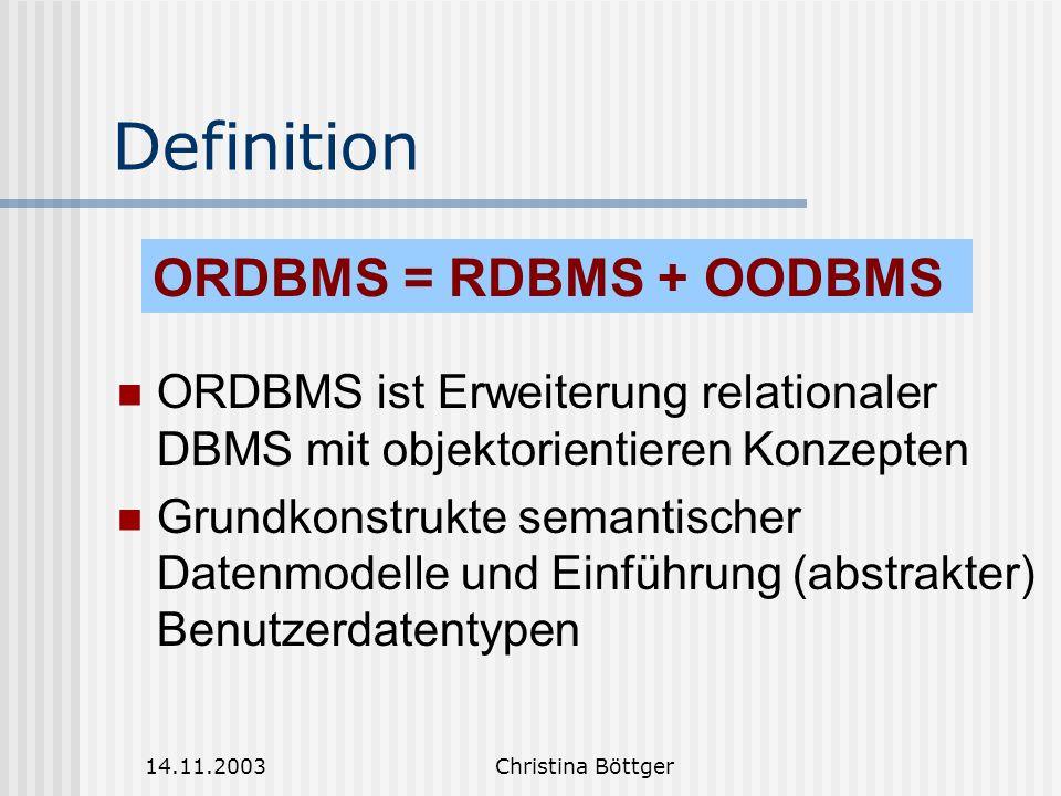 14.11.2003Christina Böttger Definition ORDBMS ist Erweiterung relationaler DBMS mit objektorientieren Konzepten Grundkonstrukte semantischer Datenmodelle und Einführung (abstrakter) Benutzerdatentypen ORDBMS = RDBMS + OODBMS