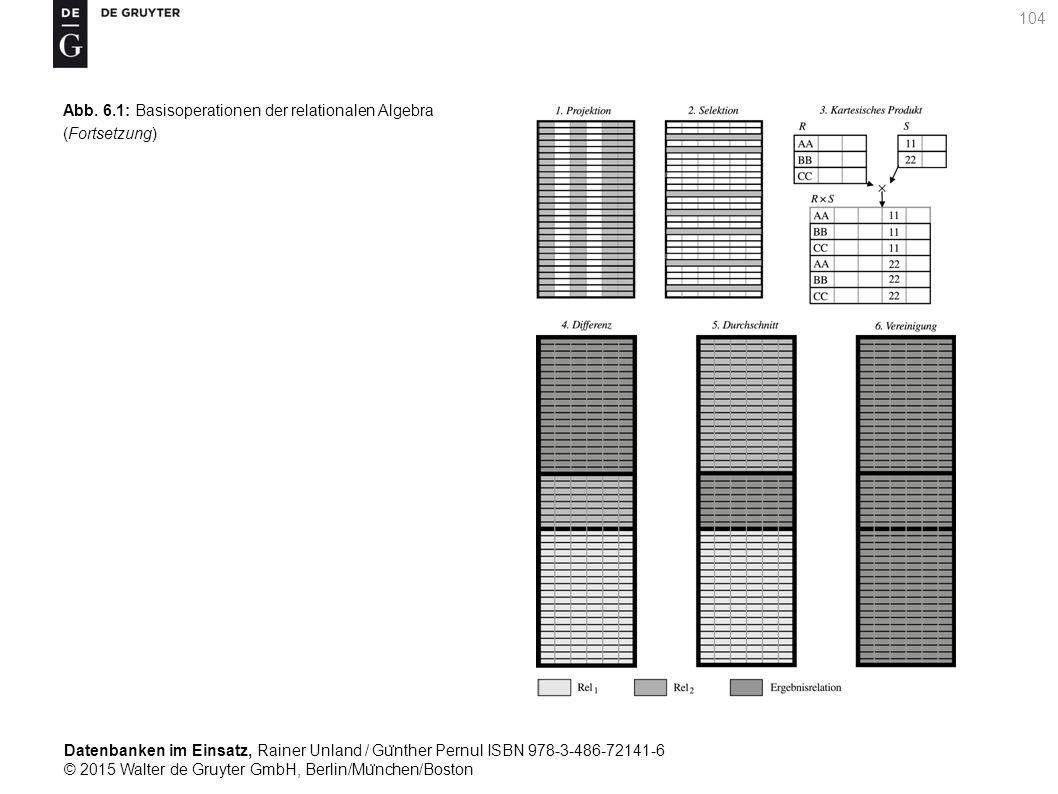 Datenbanken im Einsatz, Rainer Unland / Gu ̈ nther Pernul ISBN 978-3-486-72141-6 © 2015 Walter de Gruyter GmbH, Berlin/Mu ̈ nchen/Boston 104 Abb. 6.1: