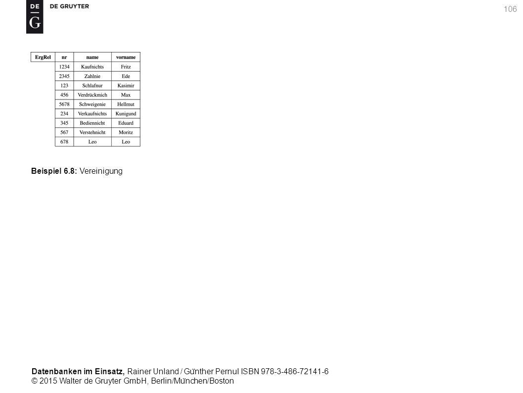 Datenbanken im Einsatz, Rainer Unland / Gu ̈ nther Pernul ISBN 978-3-486-72141-6 © 2015 Walter de Gruyter GmbH, Berlin/Mu ̈ nchen/Boston 106 Beispiel 6.8: Vereinigung