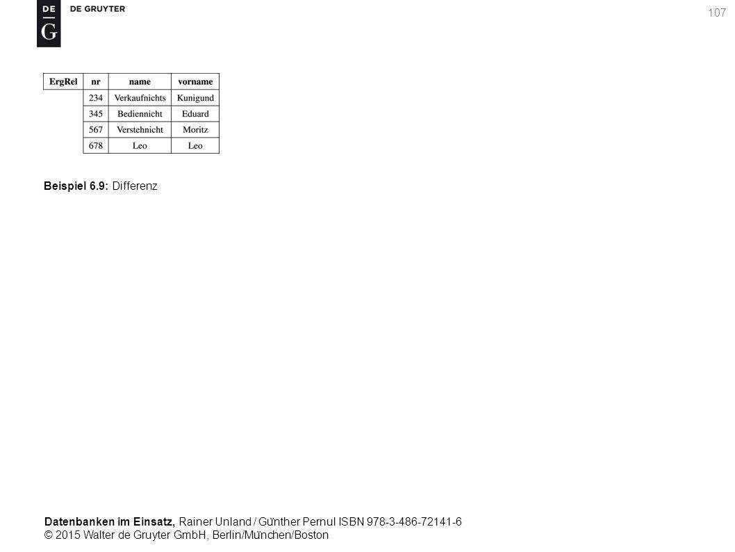 Datenbanken im Einsatz, Rainer Unland / Gu ̈ nther Pernul ISBN 978-3-486-72141-6 © 2015 Walter de Gruyter GmbH, Berlin/Mu ̈ nchen/Boston 107 Beispiel 6.9: Differenz