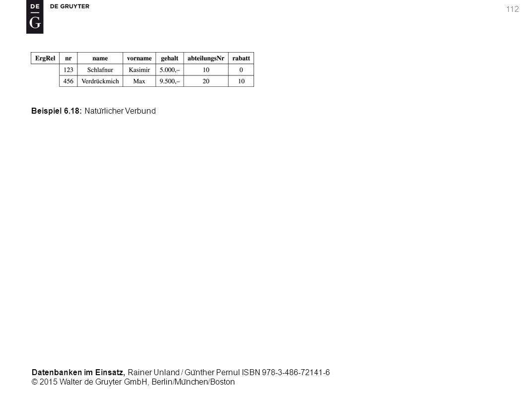 Datenbanken im Einsatz, Rainer Unland / Gu ̈ nther Pernul ISBN 978-3-486-72141-6 © 2015 Walter de Gruyter GmbH, Berlin/Mu ̈ nchen/Boston 112 Beispiel 6.18: Natu ̈ rlicher Verbund