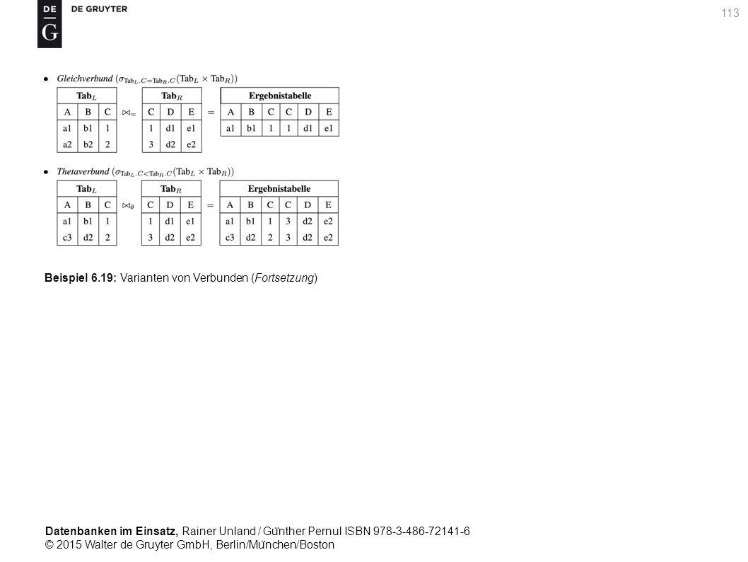 Datenbanken im Einsatz, Rainer Unland / Gu ̈ nther Pernul ISBN 978-3-486-72141-6 © 2015 Walter de Gruyter GmbH, Berlin/Mu ̈ nchen/Boston 113 Beispiel 6.19: Varianten von Verbunden (Fortsetzung)