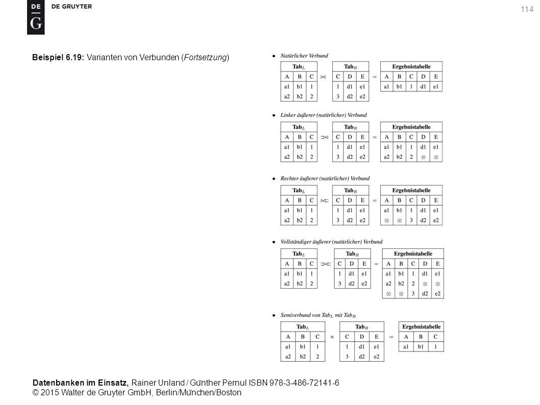 Datenbanken im Einsatz, Rainer Unland / Gu ̈ nther Pernul ISBN 978-3-486-72141-6 © 2015 Walter de Gruyter GmbH, Berlin/Mu ̈ nchen/Boston 114 Beispiel 6.19: Varianten von Verbunden (Fortsetzung)