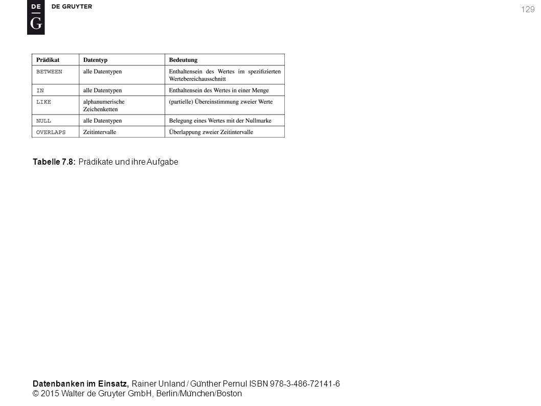 Datenbanken im Einsatz, Rainer Unland / Gu ̈ nther Pernul ISBN 978-3-486-72141-6 © 2015 Walter de Gruyter GmbH, Berlin/Mu ̈ nchen/Boston 129 Tabelle 7.8: Prädikate und ihre Aufgabe