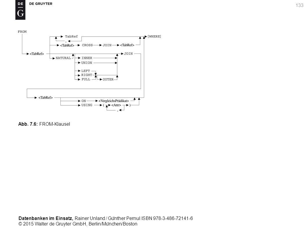Datenbanken im Einsatz, Rainer Unland / Gu ̈ nther Pernul ISBN 978-3-486-72141-6 © 2015 Walter de Gruyter GmbH, Berlin/Mu ̈ nchen/Boston 133 Abb. 7.6: