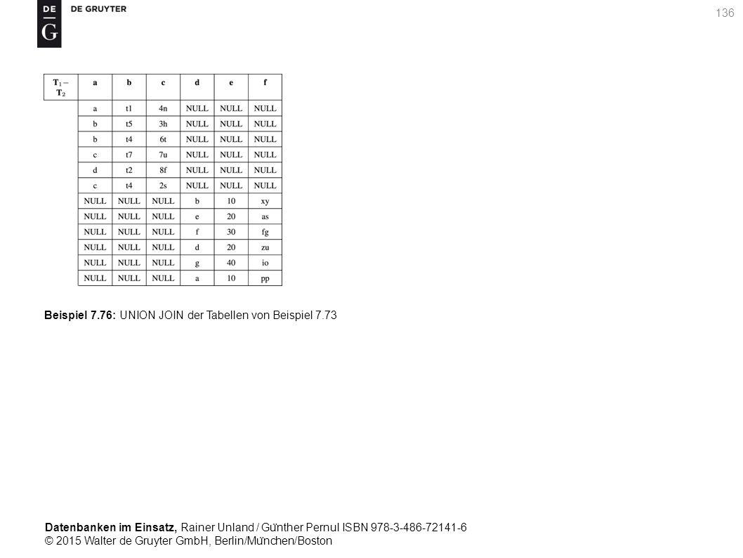 Datenbanken im Einsatz, Rainer Unland / Gu ̈ nther Pernul ISBN 978-3-486-72141-6 © 2015 Walter de Gruyter GmbH, Berlin/Mu ̈ nchen/Boston 136 Beispiel 7.76: UNION JOIN der Tabellen von Beispiel 7.73
