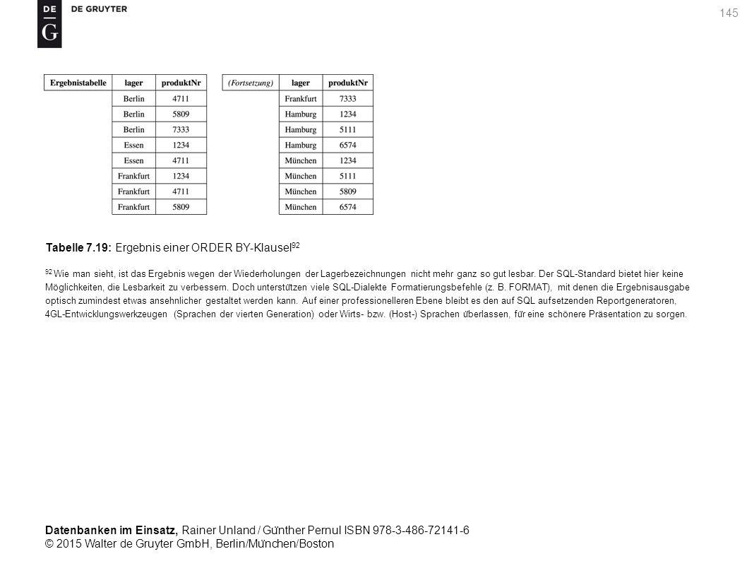 Datenbanken im Einsatz, Rainer Unland / Gu ̈ nther Pernul ISBN 978-3-486-72141-6 © 2015 Walter de Gruyter GmbH, Berlin/Mu ̈ nchen/Boston 145 Tabelle 7.19: Ergebnis einer ORDER BY-Klausel 92 92 Wie man sieht, ist das Ergebnis wegen der Wiederholungen der Lagerbezeichnungen nicht mehr ganz so gut lesbar.