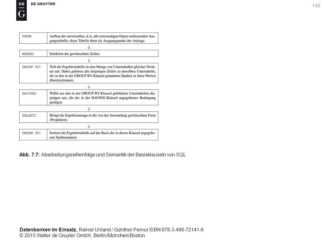 Datenbanken im Einsatz, Rainer Unland / Gu ̈ nther Pernul ISBN 978-3-486-72141-6 © 2015 Walter de Gruyter GmbH, Berlin/Mu ̈ nchen/Boston 149 Abb. 7.7: