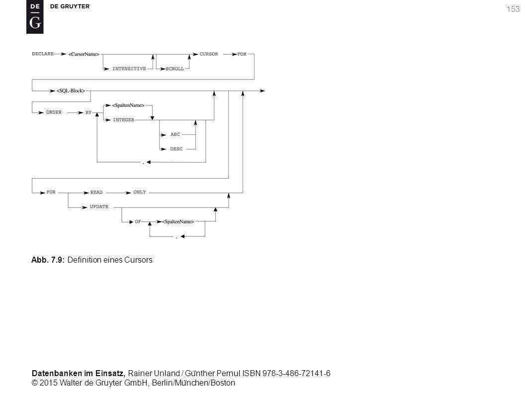 Datenbanken im Einsatz, Rainer Unland / Gu ̈ nther Pernul ISBN 978-3-486-72141-6 © 2015 Walter de Gruyter GmbH, Berlin/Mu ̈ nchen/Boston 153 Abb. 7.9: